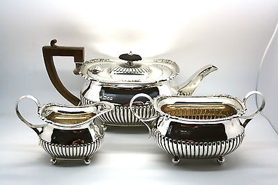 3 Piece Solid Silver Tea Set Fully Hall Marked 1900