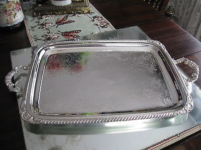 Large  Antique/vintage Old English Silver Plate Handled Service Tray