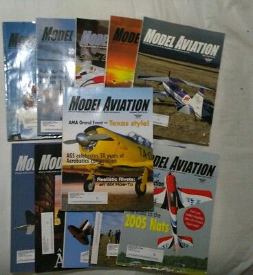 Model Aviation Magazine Lot of 11 Issues 2005, 2006