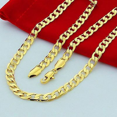 24 Inches Jewelry Cuban Curb Chain Men's Necklace Jewelry 18K Gold Plated