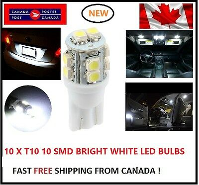 10X T10 LED White Xenon 10 SMD/5050/194Bulbs Light 168 W5W license Plate Wedge