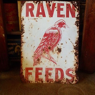 Antique Advertising Feed Sign Large Red Raven Feed Co Store Display