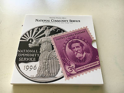1996 National Community Service US Mint Silver Dollar Coin and Stamp Set Proof 1