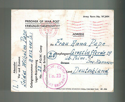 1945 Postwar Postcard Cover POW Camp 23 Bickham England to Germany Prisoner war