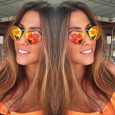 eabe9988519 Ray-Ban RB3447 112 69 Flash Orange Mirror Round Metal Sunglasses GOLD Frames