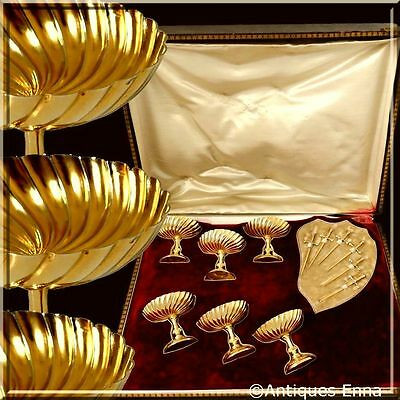 Extremely Rare French Sterling Silver 18K Gold Strawberry or Olive Serving Set