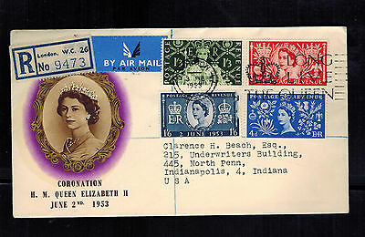 1953 England First Day Cover Queen Elizabeth II coronation FDC QE2 to USA