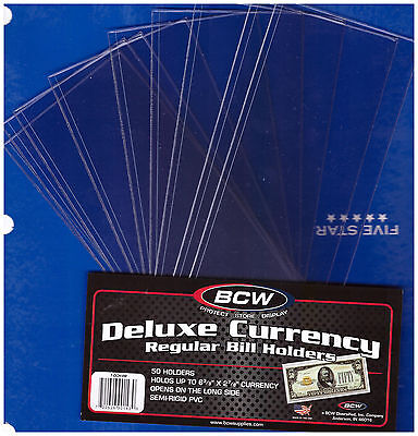 (10) Small Bcw Deluxe Currency Sleeve Bill Note Holders Paper Money Semi Rigid1