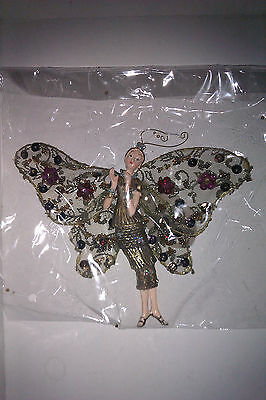 Antique Angel With Butterfly Wings, New Hanging Ornament, Sequined & Beaded, Fab