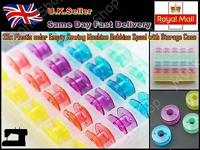 25x Plastic color Empty Sewing Machine Bobbins Spool with Storage Case