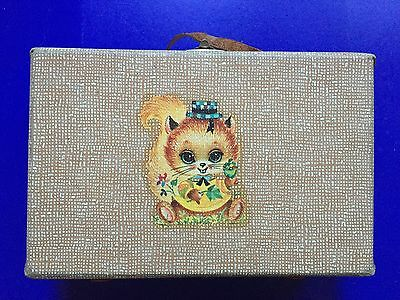 1960s 1970s vintage brown mini suitcase little lunch toy case squirrel transfer