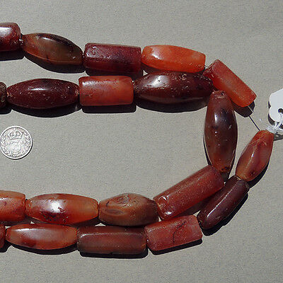 32inch 81cm strand ancient faceted carnelian agate stone beads mali #3881