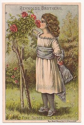 Victorian Trade Card for Reynolds Bros Boots and Shoes with Lovely Girl & Roses