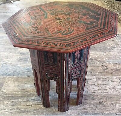 Asian Wood Collapsible Octagonal End Accent Table
