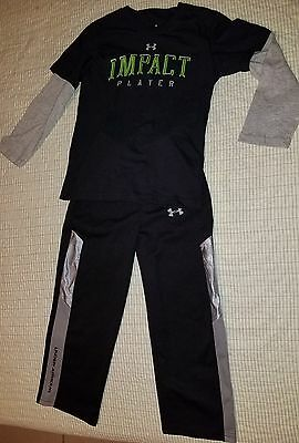Lot Boys Kids Under Armour Black/Gray/ Pants and  Shirt Outfit Size 6 EUC