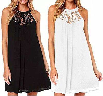 Women Summer Sleeveless Lace Casual Evening Party Cocktail Short Mini Dress