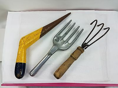 Vintage Garden Hand Tool Lot Fork Claw Dibble Potting Shed Collection