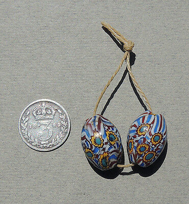2 old antique venetian oval millefiori african trade beads #3202