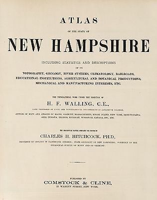 NEW HAMPSHIRE STATE 1877 ATLAS map old GENEALOGY DVD S6