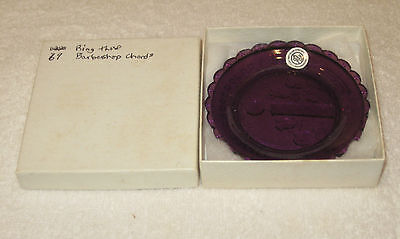 """Pairpoint Glass Company Burgendy Plate/Box - Ring Those Barbershop Chords 3 3/8"""""""
