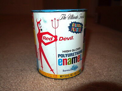 Vintage Red Devil High Gloss Polyurethane Enamel Empty Can Tin
