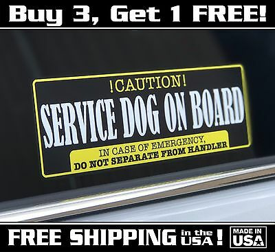 "Service Dog On Board Decal Sticker Caution! 3""x 9"" Free Shipping In The US!"