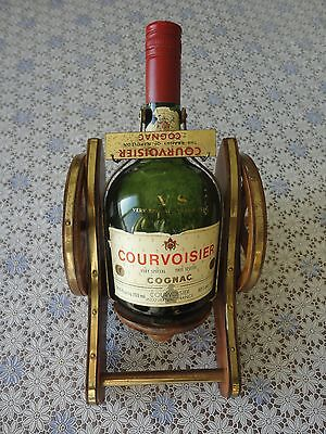 Collectable Courvoisier Cognac V.S Bottle + Wood Brass Cannon Display, No Tax
