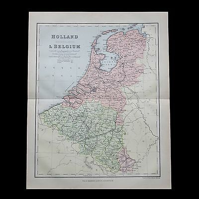 Antique 1883 colour map of the NETHERLANDS & BELGIUM - 130+ years old & VGC !