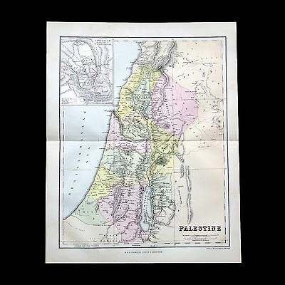Antique 1883 colour map of PALESTINE - 130+ years old & VGC !