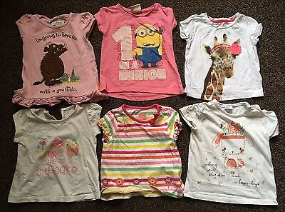 6 X Baby Girl Tops 12-18 Months Includes Minion And Gruffalo Top
