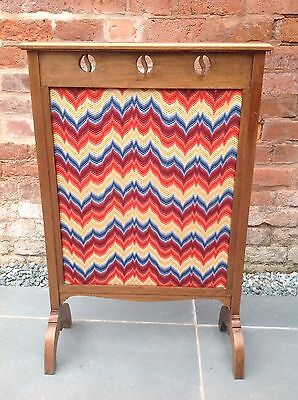 Unusual Arts & Crafts Aesthetic Movement Fire Screen Flame Stitch Embroidery