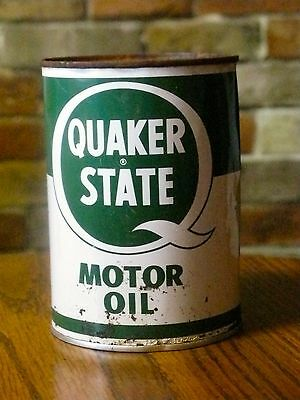 Vintage Quaker State Motor Oil Can Sealed Full 1 Qt Usa Oil Co.
