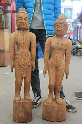 "40"" Chinese Traditional Medicine acupuncture Wood Carved human body point Statue"