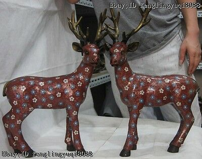 "19"" Chinese Fengshui Wire Inlay Cloisonne Enamel Pure Bronze Red Sika Deer Pair"