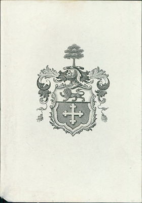 Armour Helmet Lion Tree   Bookplate   JE.1803