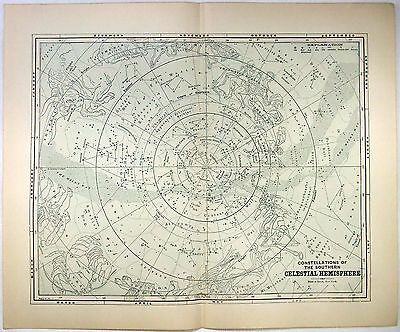 Original 1891 Star Constellation Celestial Map of the Southern Hemisphere