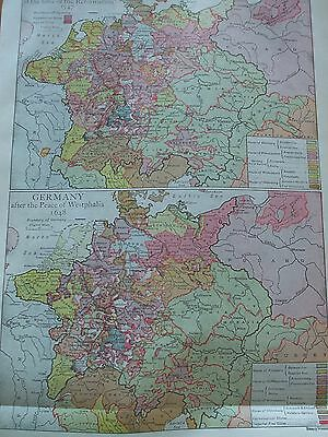 Antique Print 1926 Colour Map Germany At Time Of Reformation Peace Of Westphalia