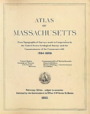 1890 MASSACHUSETTS STATE ATLAS map old GENEALOGY GHOST TOWN TREASURE DVD S21