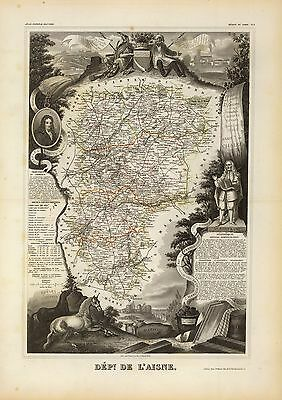 1856 Levasseur NATIONAL ATLAS FRANCE antiquemaps BEAUTIFUL ENGRAVINGS FRENCH B9