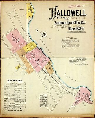 1889 Hallowell Kennebec Maine old Fire Insurance maps land ownership DVD T1