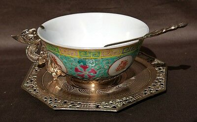 19Th Century China Chinese Silver Dragon Bowl With Plate