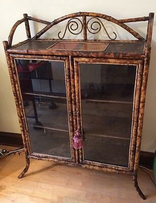 Antique American Victorian Era Scorched Bamboo Cabinet Embossed Leather