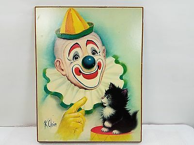 Vintage Clown and Kitten Wall Plaque  7 3/4 x 10 inches  K Chin