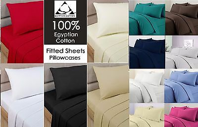 5 Star 200TC Luxury Hotel Quality Egyptian Cotton Fitted Sheet All UK Sizes