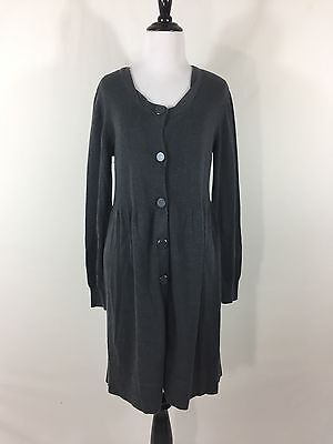 Daisy Fuentes Gray Long Sleeve Scoop Neck Button Down Sweater Dress
