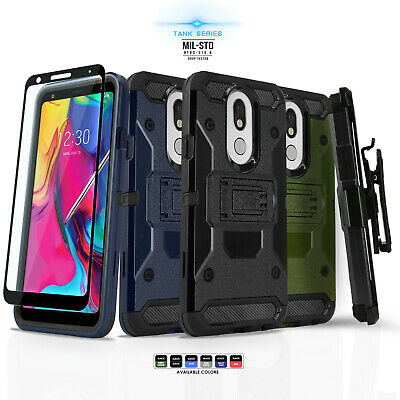 for LG STYLO 4 / 4 PLUS, Tank Cover Phone Case & Holster +Black Tempered Glass