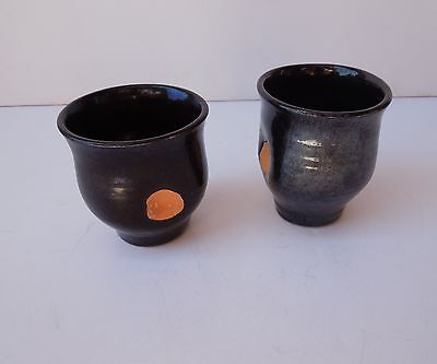 Pair of Studio Pottery Raku Style Japanese Asian Tea Cup Sake Mug Matcha Black
