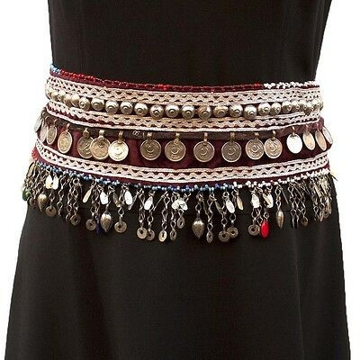 Belly Dance Gypsy Bohemian Embroidered Fabric Waist Belt Coin Bell Sequin Pearl