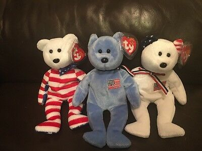 Lot Of 3 Ty USA Beanie Babies Bears. Liberty And America (white And Blue) 2002