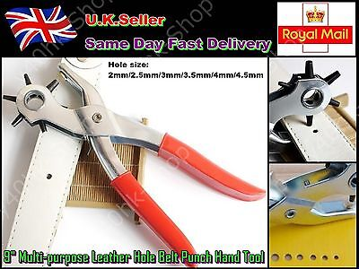 """9"""" Multi-purpose Leather Hole Belt Punch Pliers Clamp Heavy Duty Hand Tool"""
